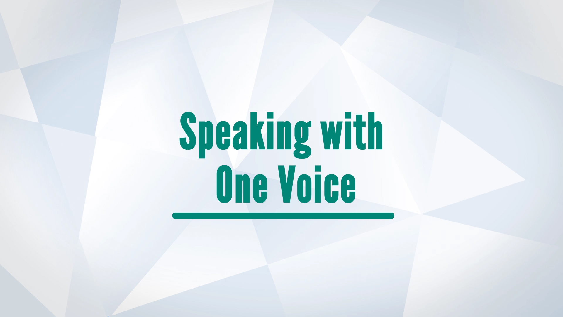 Speaking With One Voice Video Thumbnail