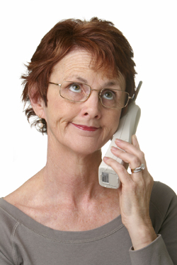 Woman on phone looking frustrated